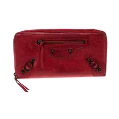 Balenciaga Red Leather Continental Zip Around Wallet