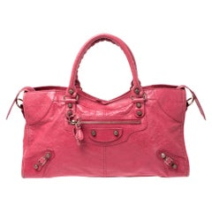 Balenciaga Red Leather Rose Gold Hardware Part Time Tote