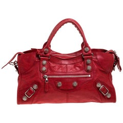Balenciaga Red Leather SH Part Time Tote