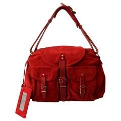 Balenciaga Red Suede Bag