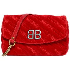 Balenciaga Red Velvet Quilted BB Chain Wallet Crossbody Bag