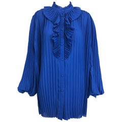 Balenciaga Resort 2017 Multi Style Royal Blue Pleated Tunic Blouse 42