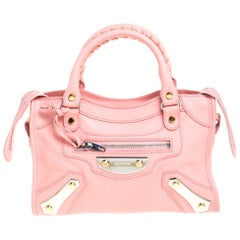 Balenciaga Rose Bonbon Leather SH Hardware Metal Plate Bag