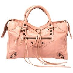 Balenciaga Rose Peche Leather RH City Bag