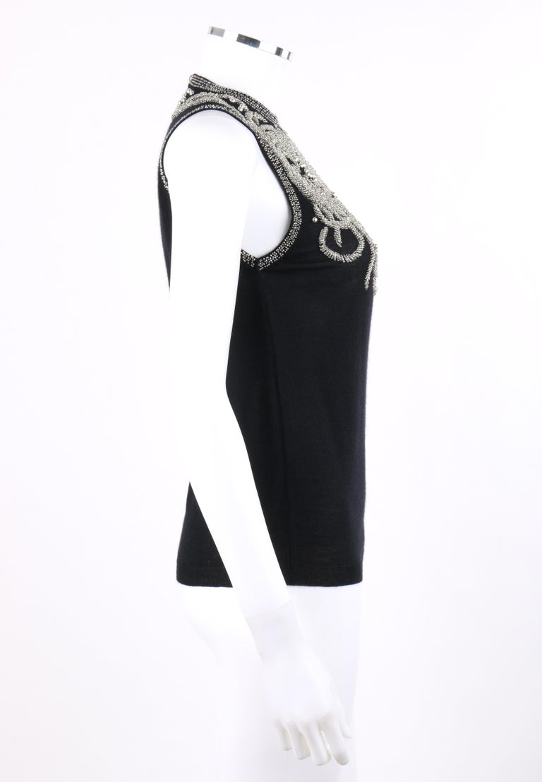 Women's BALENCIAGA S/S 2006 Black Silver Beaded Cashmere Sleeveless Sweater Top  For Sale