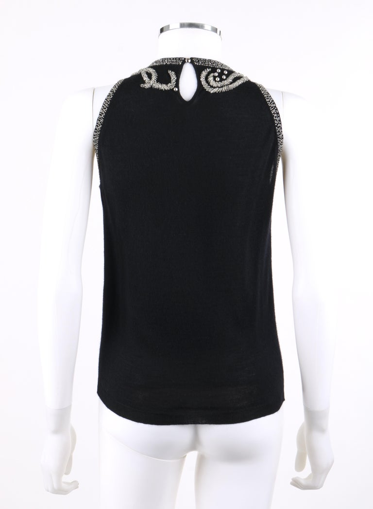 BALENCIAGA S/S 2006 Black Silver Beaded Cashmere Sleeveless Sweater Top  For Sale 1