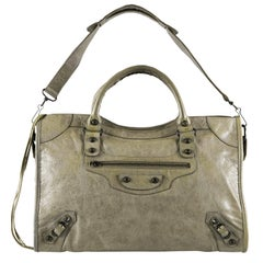 Balenciaga Sage Green Leather City Tote