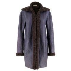 Balenciaga Shearling Lined Blue Leather Coat - Size US 6