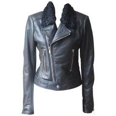 Balenciaga Shearling Trimmed Textured Leather Biker Jacket