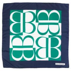Balenciaga Silk Blue Green Logo Print Scarf, 1990s