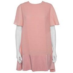 Balenciaga Silk Pink Pintuck Detail A-Line Shift Dress L