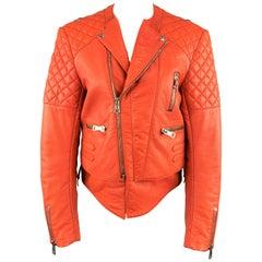 BALENCIAGA Size 10 Orange Quilted Leather Biker Moto Jacket