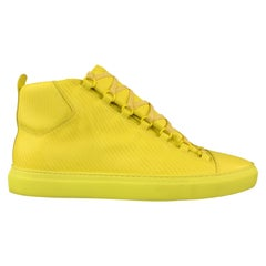 BALENCIAGA Size 11 Yellow Textured Leather ARENA Sneakers