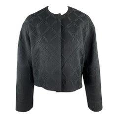BALENCIAGA Size 4 Black Jacquard Cropped Collarless Jacket