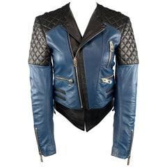 BALENCIAGA Size 4 Black & Teal Blue Quilted Leather Color Block Biker Jacket