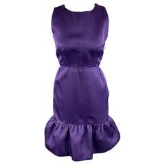 BALENCIAGA Size 6 Purple Silk Sleeveless Ruffle Skirt Sheath Cocktail Dress