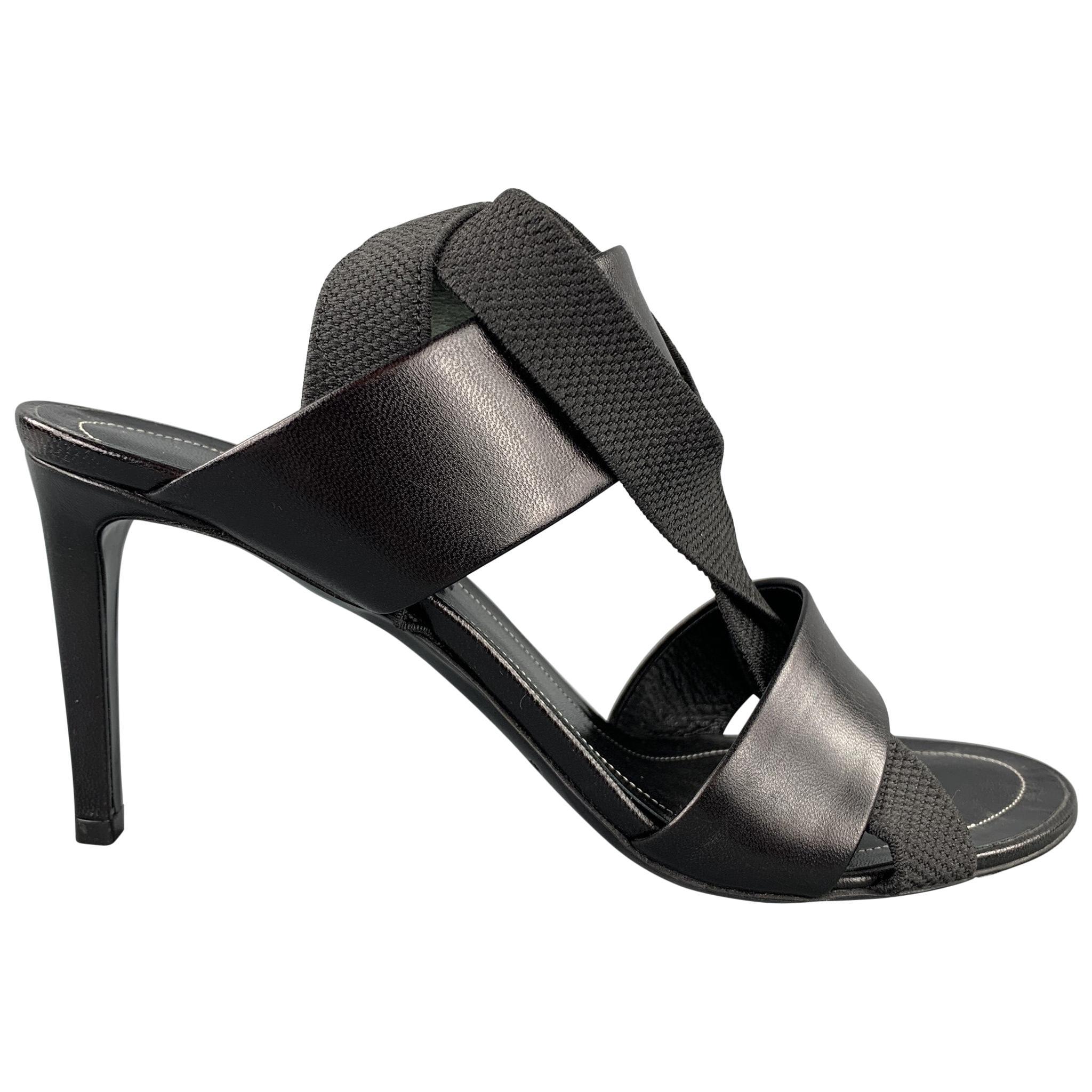 BALENCIAGA Size 8 Black Leather Ribbon Strappy Heel Sandals
