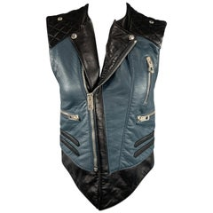 BALENCIAGA Size 8 Black & Teal Blue Quilted Leather Biker Vest