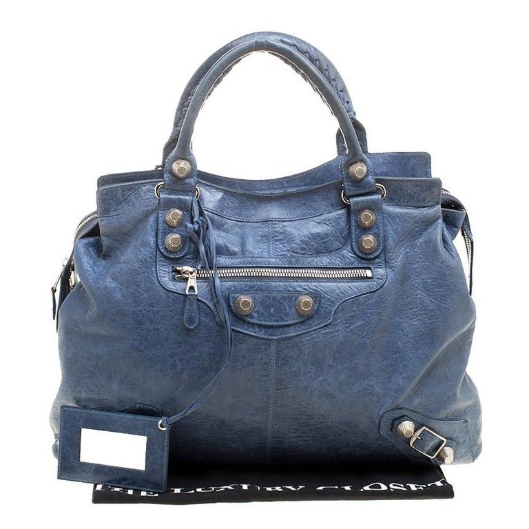 Balenciaga Sky Blue Leather Giant 21 Gold Hardware RTT Bag 7