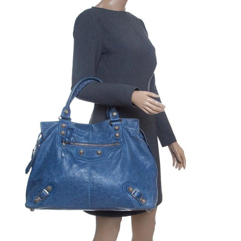 Gray Balenciaga Sky Blue Leather Giant 21 Gold Hardware RTT Bag