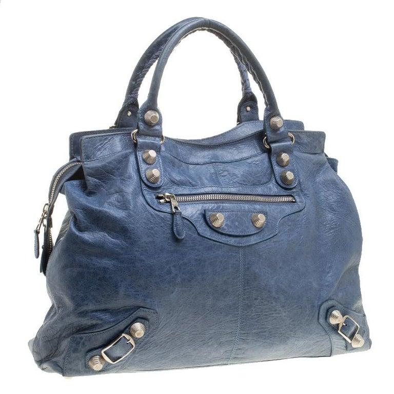 Balenciaga Sky Blue Leather Giant 21 Gold Hardware RTT Bag In Good Condition In Dubai, Al Qouz 2