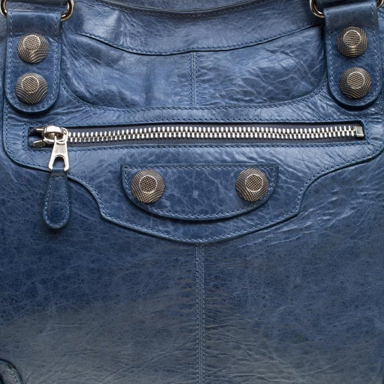 Women's Balenciaga Sky Blue Leather Giant 21 Gold Hardware RTT Bag