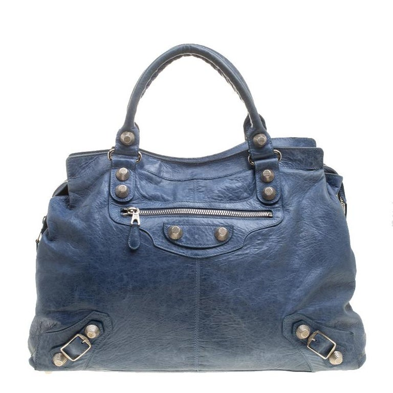 Balenciaga Sky Blue Leather Giant 21 Gold Hardware RTT Bag