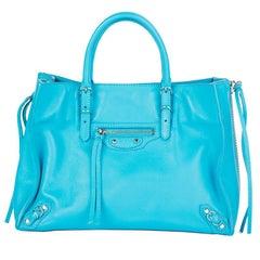 BALENCIAGA sky blue leather PAPIER A6 SIDE ZIP TOTE Bag