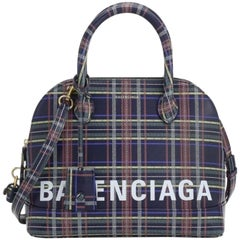 Balenciaga Small Ville Plaid Dome 2way 2mz0116 Blue Leather Cross Body Bag