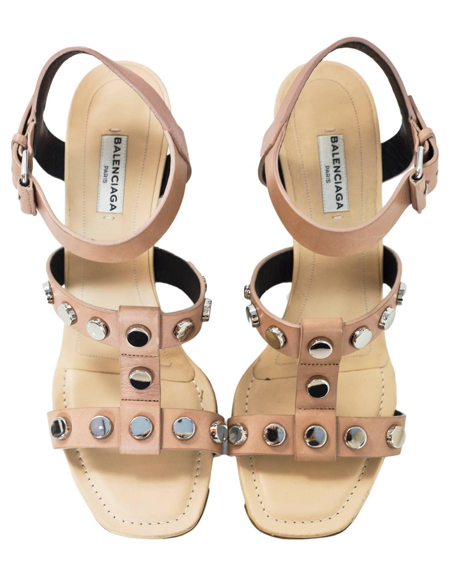99c8652d0 Balenciaga Tan Leather Studded Wedge Sandals Sz 38.5 For Sale at 1stdibs