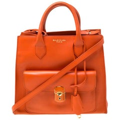 Balenciaga Tangerine Leather Padlock All Afternoon Tote