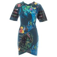 Balenciaga teal cotton mini dress with aquatic and jungle themed print, ss 2003