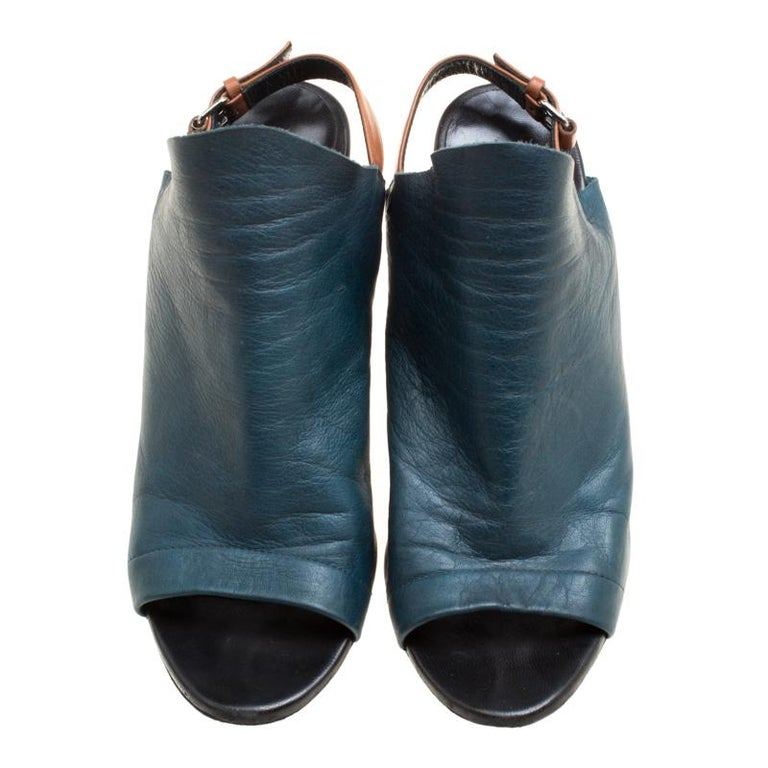 620a1f499 Balenciaga Teal Leather Gloves Wedge Sandals Size 39 For Sale. Stylish and  very modern