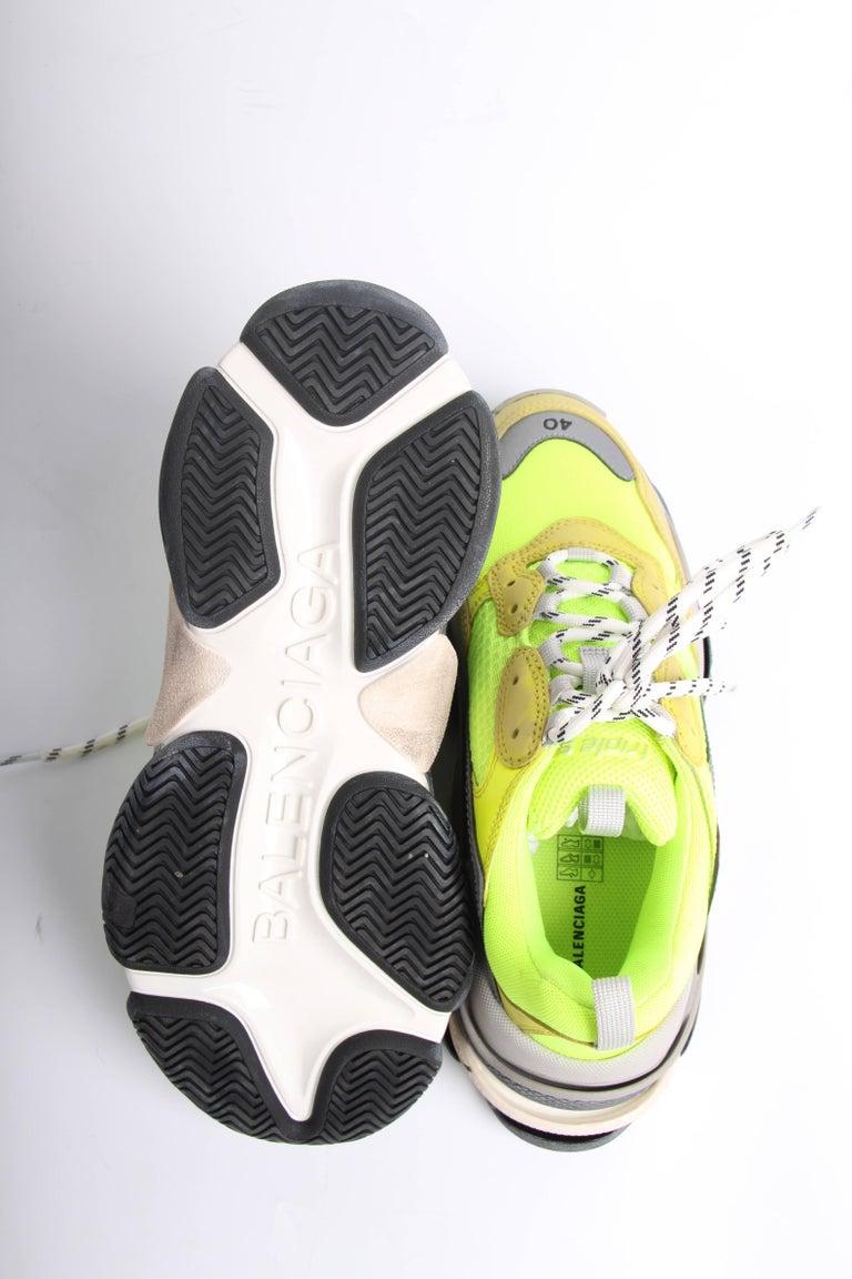 Balenciaga Tess Triple S Sneaker Fluorescent Yellow Grey