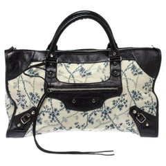 Balenciaga Tri Color Floral Print Canvas and Leather RH Work Tote