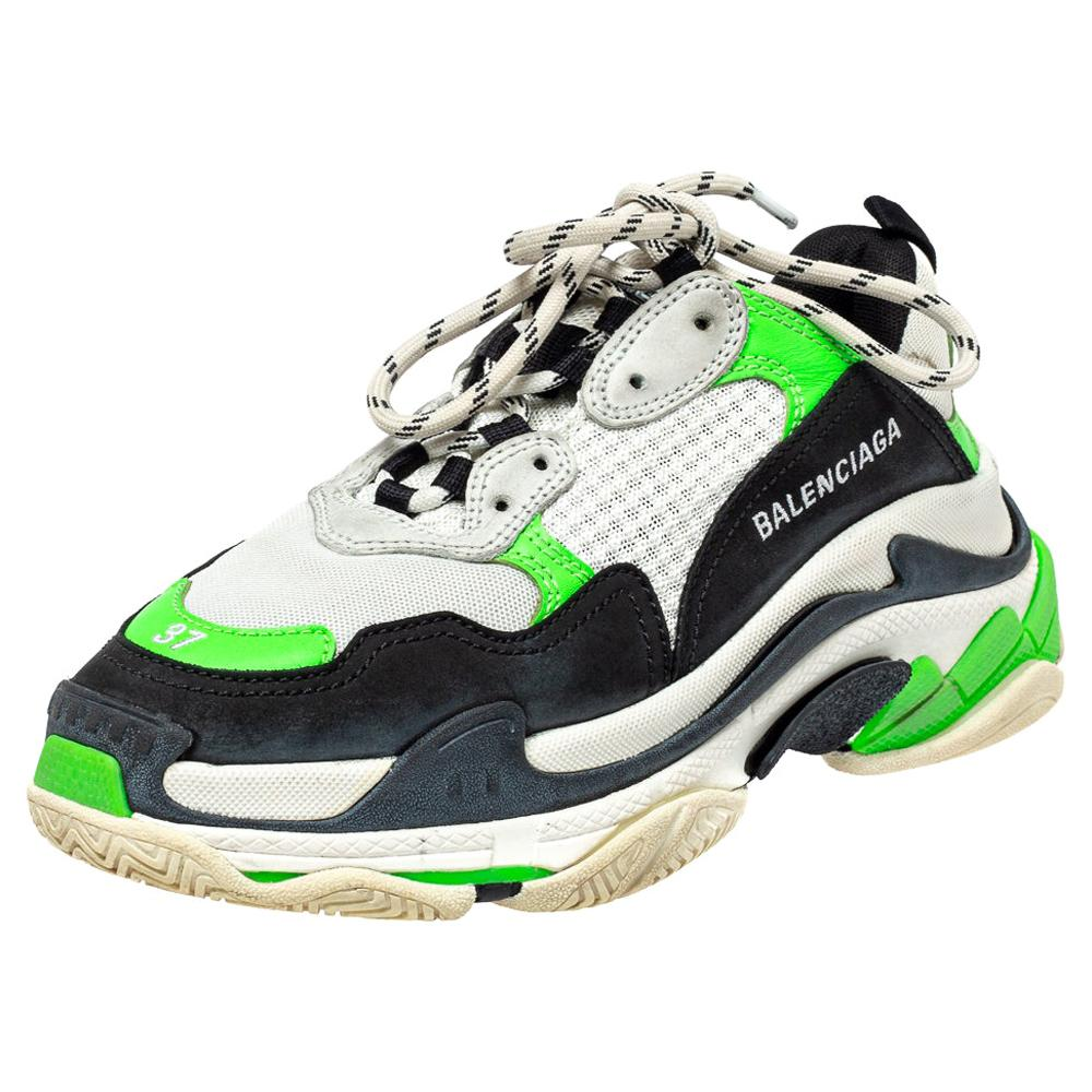 Balenciaga Tri Color Mesh And Leather Triple S Low Top Sneakers Size 37