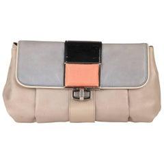 Balenciaga Tricolor Gray Leather Cherche Midi Clutch Bag Handbag