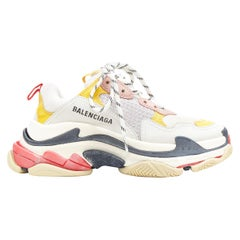 BALENCIAGA Triple S beige cream pink yellow accent chunky sole dad sneaker EU36