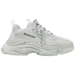 Balenciaga Triple S Clear Sole Leather Nubuck & Mesh Sneakers