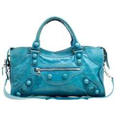 Balenciaga Turquoise Leather Giant Brogues Covered 21 Part Time Bag