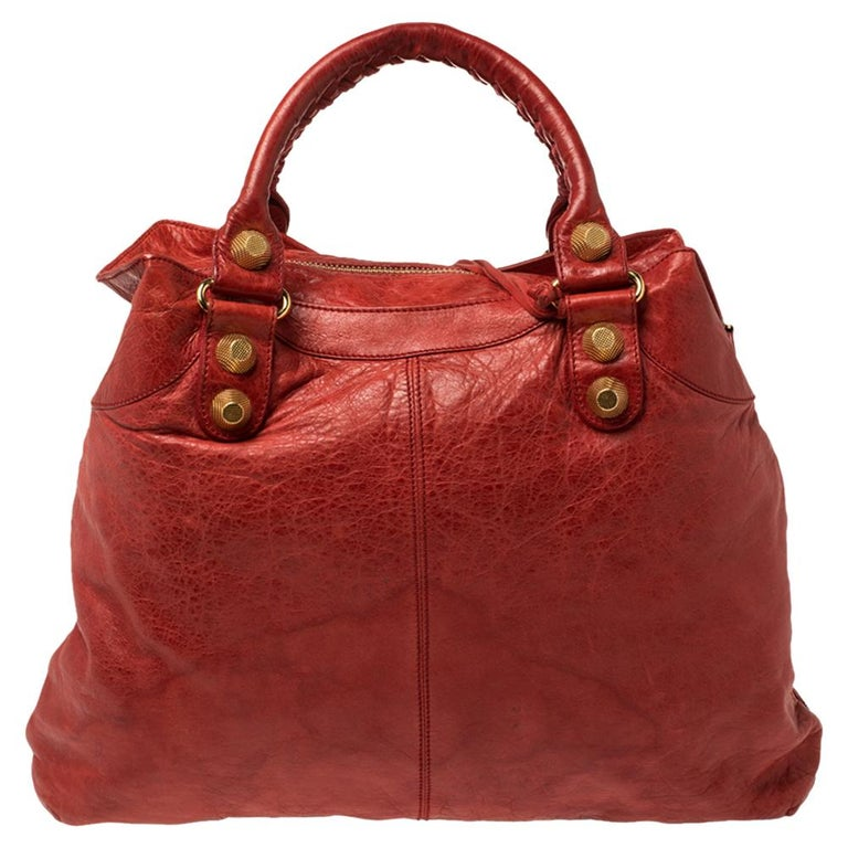 Red Balenciaga Vermillon Leather GGH Midday Bag For Sale