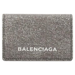 Balenciaga Ville Accordion Card Case Glitter Leather