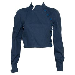 Balenciaga Vintage Blue Cotton Canvas Button Front Jacket M