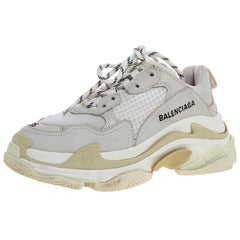 Balenciaga White/Beige Leather And Mesh Triple S Trainer Sneakers Size 35