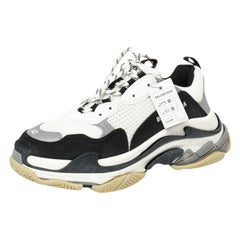 Balenciaga White/Black Leather and Mesh Triple S Platform Sneakers Size 42