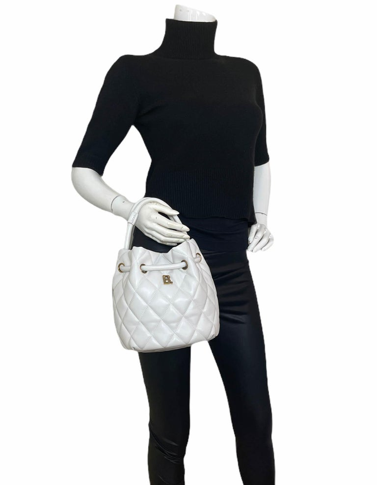 Gray Balenciaga White Calfskin Leather B Dot Quilted Crossbody Bucket Bag For Sale