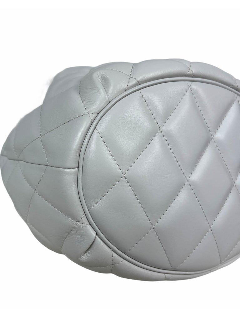 Balenciaga White Calfskin Leather B Dot Quilted Crossbody Bucket Bag For Sale 1