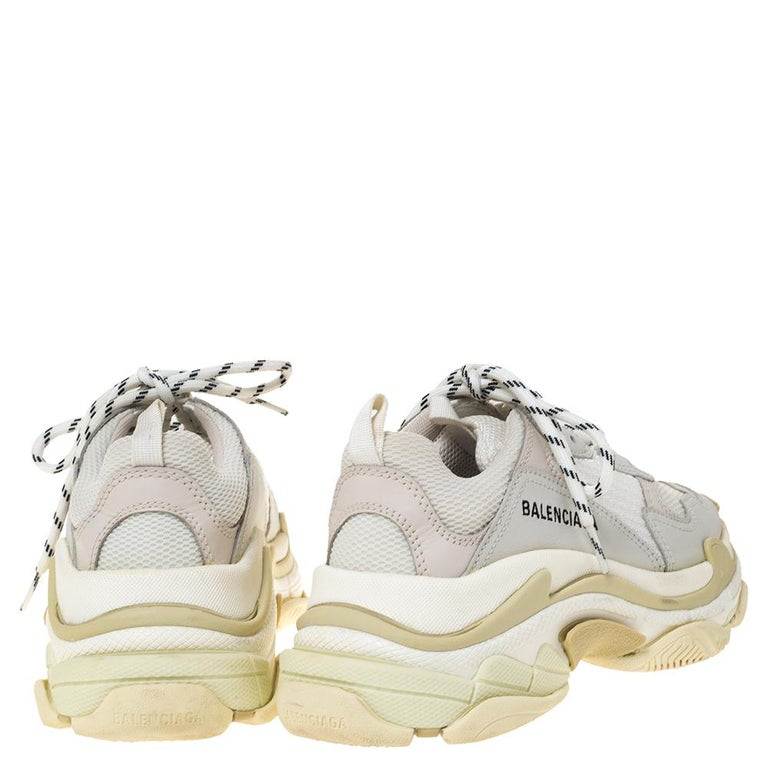 Women's Balenciaga White Leather And Mesh Triple S Platform Sneakers Size 37 For Sale