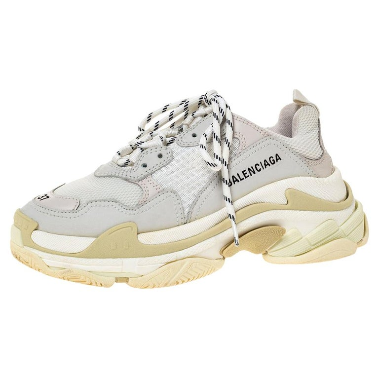 Balenciaga White Leather And Mesh Triple S Platform Sneakers Size 37 For Sale