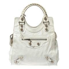 Balenciaga White Leather GSH Folder Bag